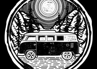 Adventure Van t shirt vector