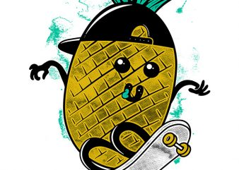 Pineapple Skateboarding t shirt illustration