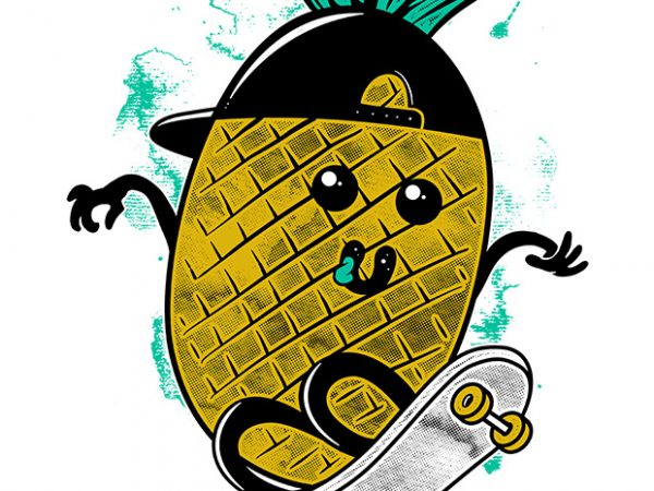 Pineapple Skateboarding t shirt illustration