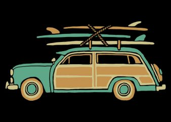 Surf Car t shirt vector