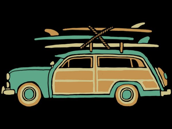 Surf Car t shirt template vector