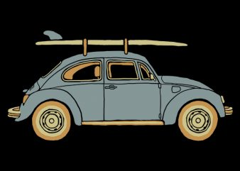 Surf Car t shirt template vector