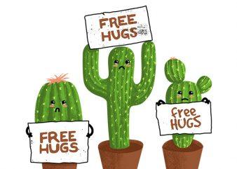 Free Hugs (Cactus) t shirt graphic design