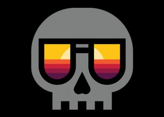 Sunset Skull t shirt template vector