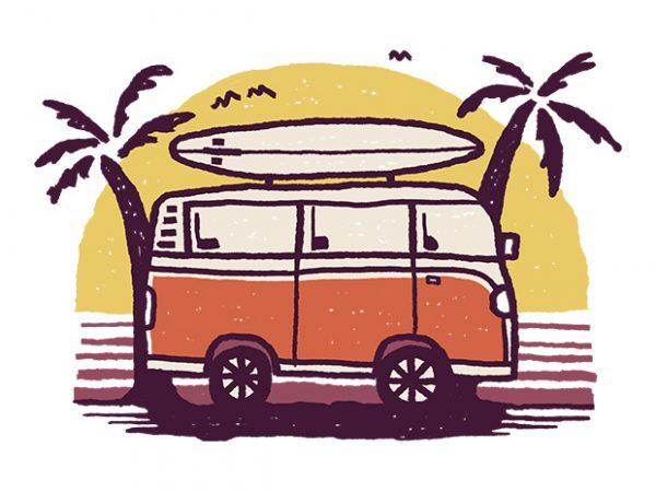 Sunset Van t shirt template vector