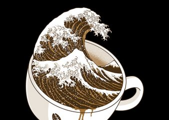 The Great Wave off Coffee t shirt designs for sale