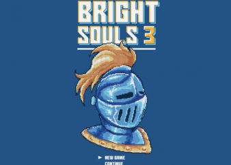 Bright Souls Knight Pixel Art Vector t-shirt design