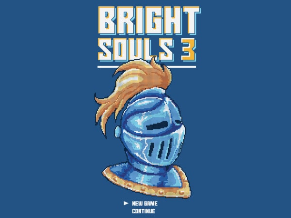 Bright Souls Knight Pixel Art Vector t-shirt design