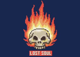 Burning Skull Lost Soul Pixel Art tshirt design buy t shirt design
