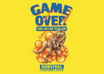 Game Over Dino tshirt design buy t shirt design