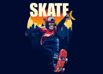 Monkey SK8 Tshirt Design buy t shirt design