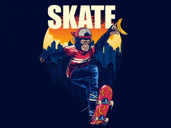 Monkey SK8 Tshirt Design
