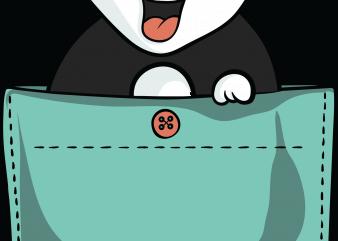 Panda pocket t shirt illustration