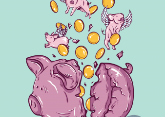 Piggy bank t shirt illustration