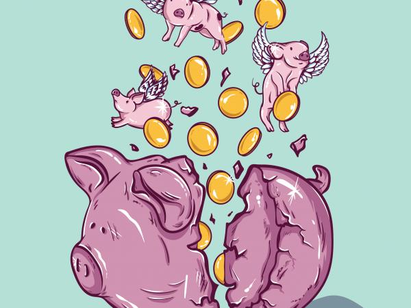 Piggy bank t shirt illustration