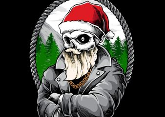 Santa Gangster t shirt template vector