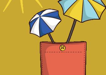 Sun umbrella pocket t shirt template vector