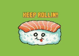 Sushi Pixel Art Food Character tshirt design buy t shirt design
