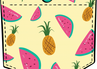 Tropical fruits pocket t shirt designs for sale