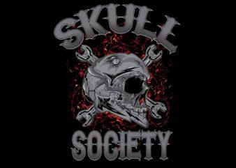 skull society t shirt template vector