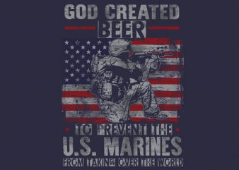 GOD CREATED BEER t shirt design template