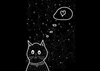 Cat love t shirt vector file