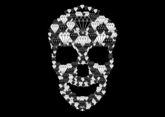 diamond skull t shirt vector illustration