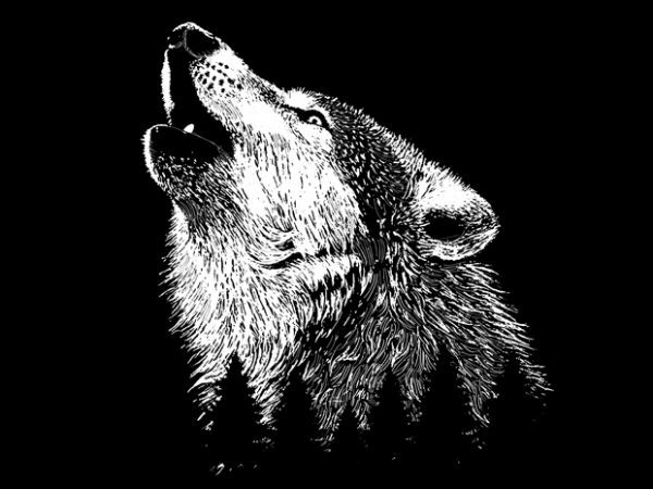 Wolf t shirt design for sale