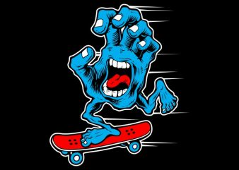Skater Hand Scary t shirt template vector