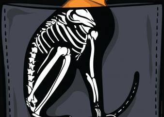Cat skeleton pocket t shirt vector