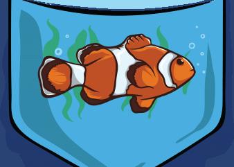 Fish pocket t shirt graphic design