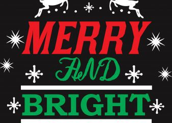 Merry & Bright Christmas T-Shirt Design