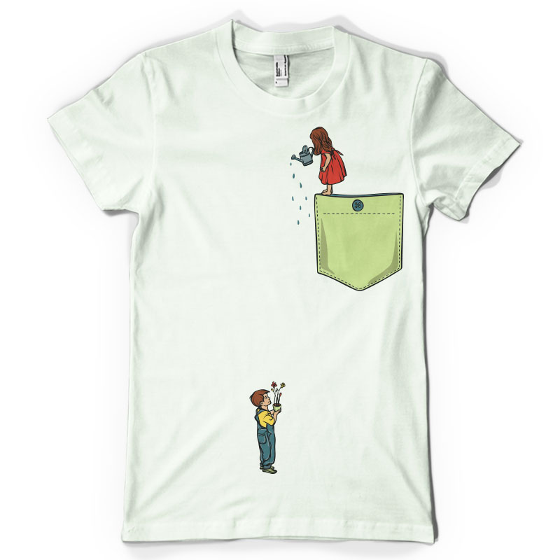 Watering flowers pocket t shirt design for sale