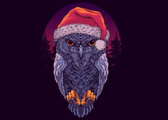 Santa Owl Graphic tee design t shirt vector