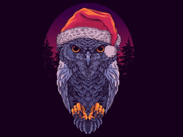 Santa Owl Graphic tee design buy t shirt design