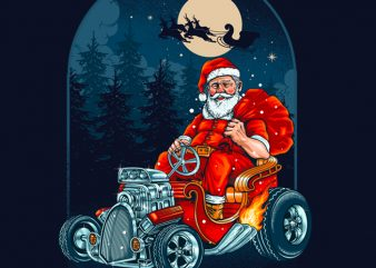 Hotrod Santa Graphic Tee Design buy t shirt design