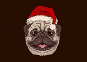 Santa Pug Graphic Tee Design