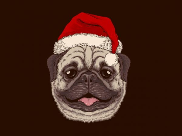 Santa Pug Graphic Tee Design