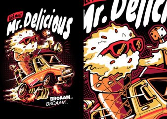 Mr Delicious t shirt vector