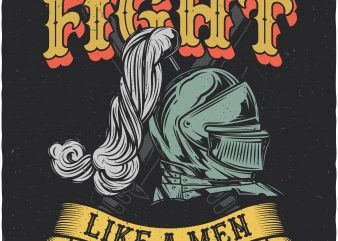 Fight like a men. Vector T-Shirt Design buy t shirt design