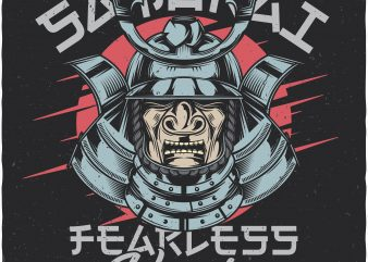 Samurai fearless warrior. Vector T-Shirt Design