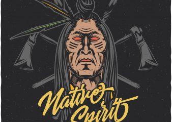 Native spirit. Vector T-Shirt Design buy t shirt design