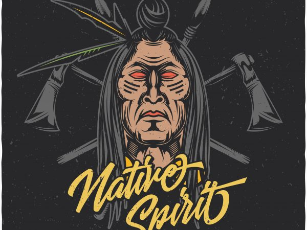 Native spirit. Vector T-Shirt Design