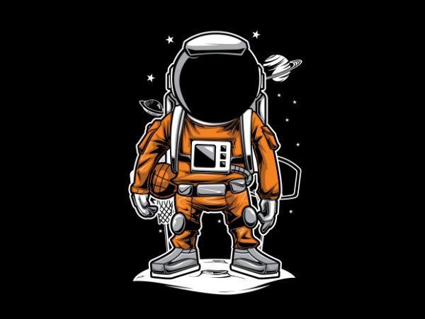 Astronaut Basket Ball T-Shirt Design