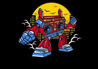 Boombox Robot Vector t-shirt design