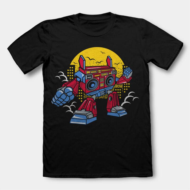 Boombox Robot Vector t-shirt design buy t shirt design