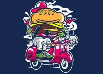 Burger Scooter Graphic t-shirt design buy t shirt design