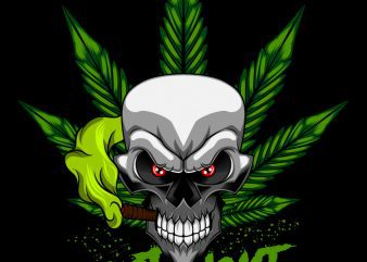 Cannabis Skull Marijuana T-Shirt design template buy t shirt design