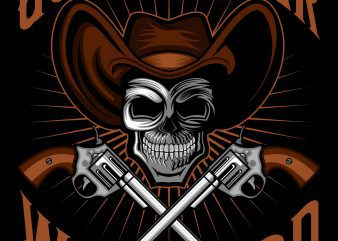 Cowboy skull gunslinger warlord T-Shirt Template design vector illustration buy t shirt design