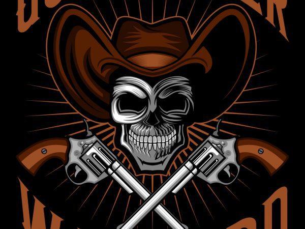 Cowboy skull gunslinger warlord T-Shirt Template design vector illustration